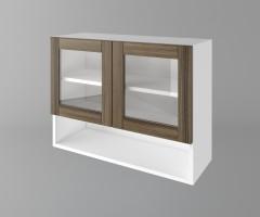 Шкаф с две врати за стъкло и ниша