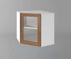 Горен кухненски шкаф за вътрешен ъгъл с една врата за стъкло Калатея - Канела 1