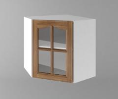 Горен кухненски шкаф за вътрешен ъгъл с една врата за стъкло  Астра - Канела 1