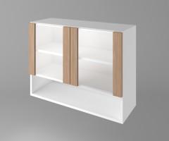 Горен кухненски шкаф с две остъклени врати и ниша Поларис 1