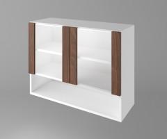 Горен кухненски шкаф с две остъклени врати и ниша Атлас 1