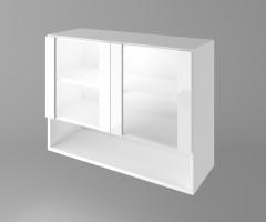 Горен кухненски шкаф с две остъклени врати и ниша Нарцис - Гланц 1